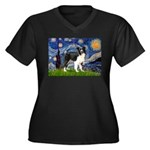 Starry / Border Collie (Z) Women's Plus Size V-Nec