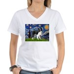 Starry / Border Collie (Z) Women's V-Neck T-Shirt
