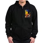 Cafe / Border Collie (Z) Zip Hoodie (dark)