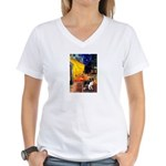 Cafe / Border Collie (Z) Women's V-Neck T-Shirt
