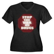 Stop the War on Drugs Women's Plus Size V-Neck Dar