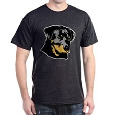 Rottweiler Head Black T-Shirt
