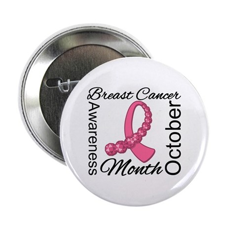 "Breast Cancer Month Gemstone 2.25"" Button"