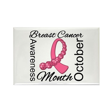 Breast Cancer Month Gemstone Rectangle Magnet