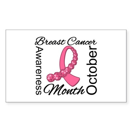 Breast Cancer Month Gemstone Rectangle Sticker 10