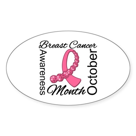 Breast Cancer Month Gemstone Oval Sticker (50 pk)