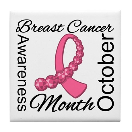 Breast Cancer Month Gemstone Tile Coaster