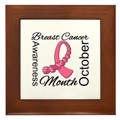 Breast Cancer Month Gemstone Framed Tile