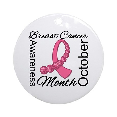 Breast Cancer Month Gemstone Ornament (Round)
