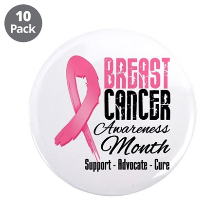 "Breast Cancer Month Pink Ribbon 3.5"" Button (10 pa"
