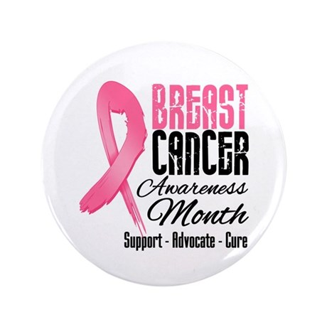 "Breast Cancer Month Pink Ribbon 3.5"" Button"