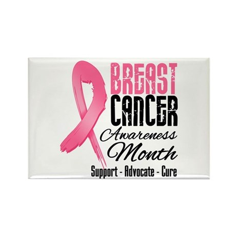 Breast Cancer Month Pink Ribbon Rectangle Magnet (