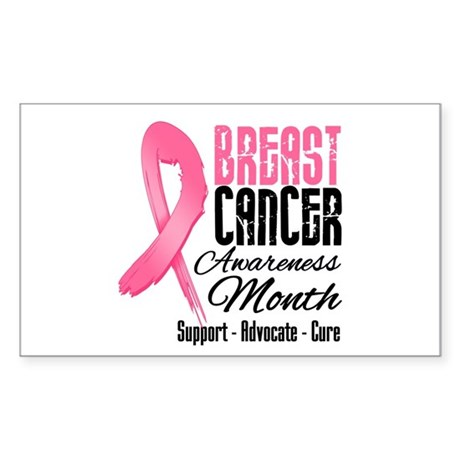 Breast Cancer Month Pink Ribbon Rectangle Sticker
