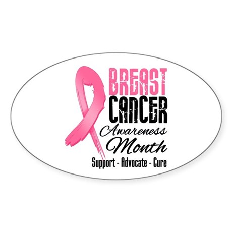 Breast Cancer Month Pink Ribbon Sticker (Oval 50 p