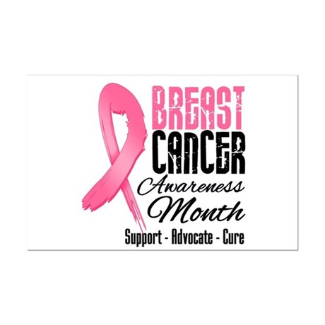 Breast Cancer Month Pink Ribbon Mini Poster Print