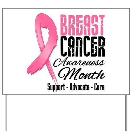 Breast Cancer Month Pink Ribbon Yard Sign