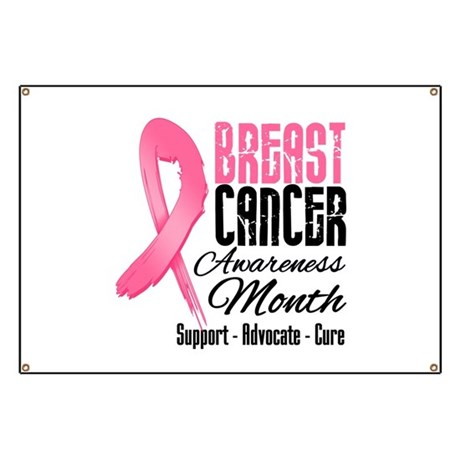 Breast Cancer Month Pink Ribbon Banner