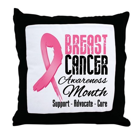 Breast Cancer Month Pink Ribbon Throw Pillow