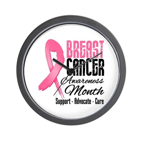 Breast Cancer Month Pink Ribbon Wall Clock