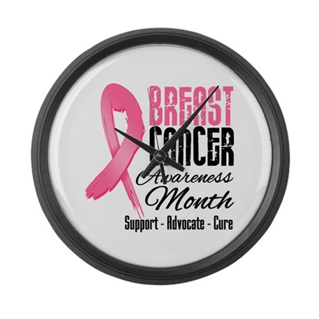 Breast Cancer Month Pink Ribbon Large Wall Clock