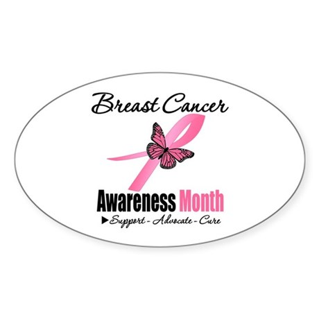 Breast Cancer Month Support Oval Sticker (10 pk)