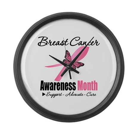 Breast Cancer Month Support Large Wall Clock