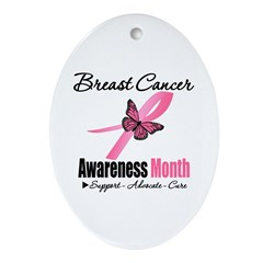Breast Cancer Month Support Oval Ornament