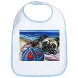 Pug Merry at the beach Bib