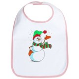 Festive Cartoon Snowman Bib