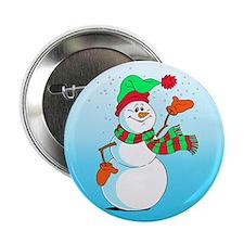 "Festive Cartoon Snowman 2.25"" Button"
