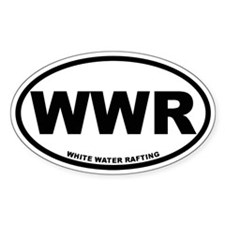 White Water Rafting Oval Decal