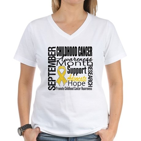 Childhood Cancer Month v4 Women's V-Neck T-Shirt