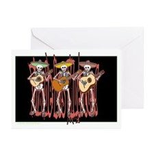 Mariachi Skeleton Trio Greeting Cards (Pk of 20)