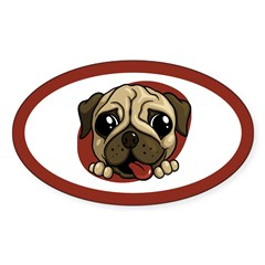 Pug Oval Sticker