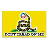 Gadsden Strikes Obama Logo Rectangle Decal