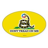 Gadsden Strikes Obama Logo Oval Decal