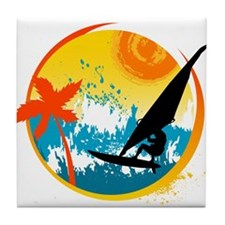 Cute Sailboarding Tile Coaster