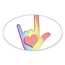 Rainbow I Love You Oval Decal