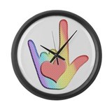 Rainbow I Love You Large Wall Clock