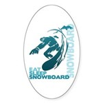 Eat Sleep Snowboard Oval Sticker (10 pk)