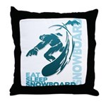 Eat Sleep Snowboard Throw Pillow