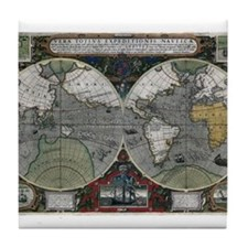 1595 World Map Tile Coaster