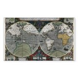 1595 World Map Rectangle Decal