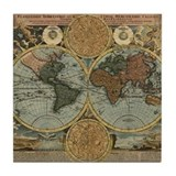 1716 World Map Tile Coaster