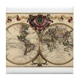 1720 World Map Tile Coaster