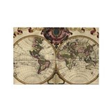 1720 World Map Rectangle Magnet