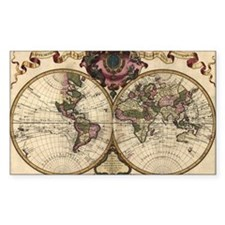 1720 World Map Rectangle Decal