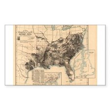 1860 America Slave Map Rectangle Decal