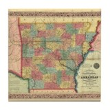 1854 Arkansas Map Tile Coaster