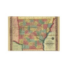 1854 Arkansas Map Rectangle Magnet